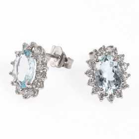 Aquamarine and Diamond Stud Earrings in 9ct White Gold