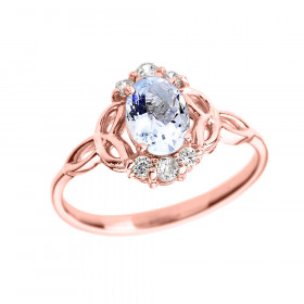 0.6ct Aquamarine and Diamond Trinity Knot Engagement Ring in 9ct Rose Gold