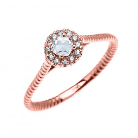 0.08ct Aquamarine Halo Rope Design Promise Twisted Rope Ring in 9ct Rose Gold