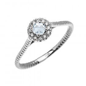 0.08ct Aquamarine Halo Rope Promise Twisted Rope Ring in 9ct White Gold