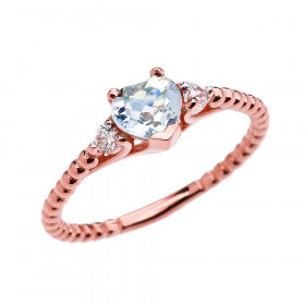 0.6ct Aquamarine Heart Beaded Band Promise Ring in 9ct Rose Gold