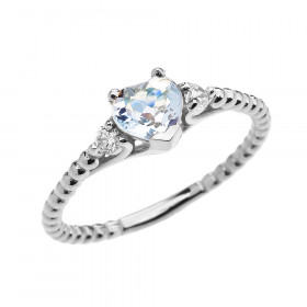 0.6ct Aquamarine Heart Beaded Band Promise Ring in 9ct White Gold
