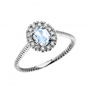 0.25ct Aquamarine Oval Halo Rope Promise Ring in 9ct White Gold