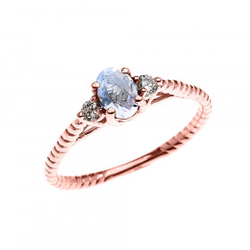 0.25ct Aquamarine Rope Design Promise Twisted Rope Ring in 9ct Rose Gold