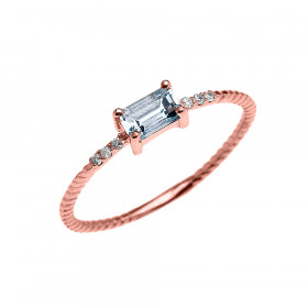 0.12ct Aquamarine Rope Design Promise Twisted Rope Ring in 9ct Rose Gold