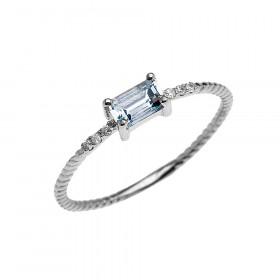 0.12ct Aquamarine Rope Design Promise Twisted Rope Ring in 9ct White Gold