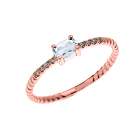0.15ct Aquamarine Stackable Oval Rope Design Promise Twisted Rope Ring in 9ct Rose Gold