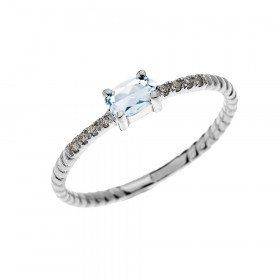 0.15ct Aquamarine Stackable Oval Rope Design Twisted Rope Ring in 9ct White Gold