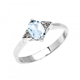 0.5ct Aquamarine and White Topaz Oval Engagement Ring in 9ct White Gold