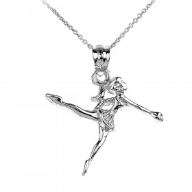 Ballerina Charm Pendant Necklace in 9ct White Gold