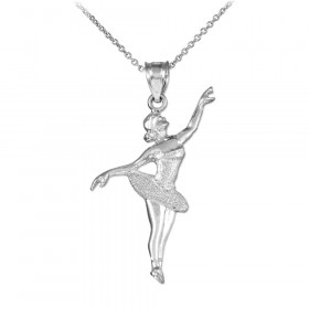 Ballet Dancer Charm Pendant Necklace in 9ct White Gold