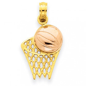 Basketball Hoop Ball Pendant Necklace in 9ct Two-Tone Gold