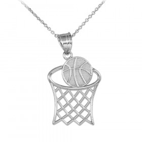 Basketball Hoop Charm Pendant Necklace in 9ct White Gold