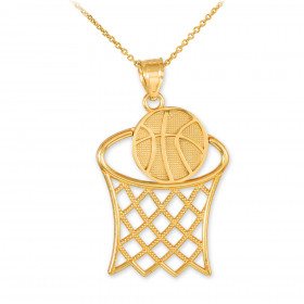 Basketball Hoop Pendant Necklace in 9ct Gold