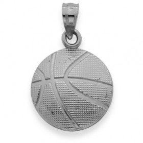 Basketball Pendant Necklace in 9ct White Gold