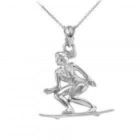Beach Surfer Pendant Necklace in 9ct White Gold