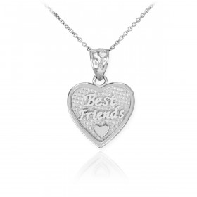 Best Friends Heart Charm Pendant Necklace in 9ct White Gold