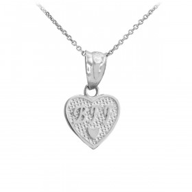 BFF Heart Charm Pendant Necklace in 9ct White Gold