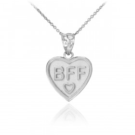BFF Heart Pendant Necklace in 9ct White Gold