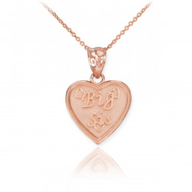 Big Sis Heart Pendant Necklace in 9ct Rose Gold