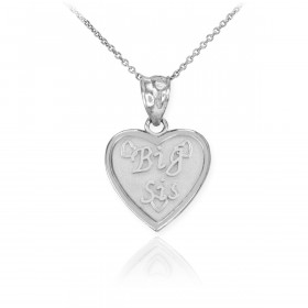 Big Sis Heart Pendant Necklace in 9ct White Gold