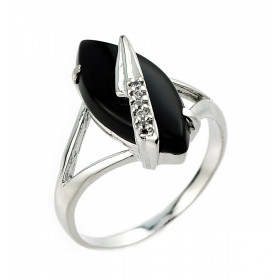 Black Onyx and CZ Ring in 9ct White Gold