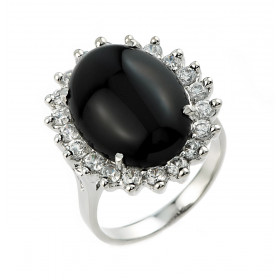 1.0ct Black Onyx Halo Engagement Ring in 9ct White Gold