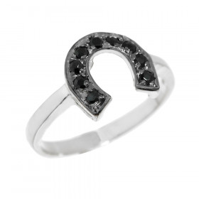 Black Onyx Horseshoe Ring in Sterling Silver