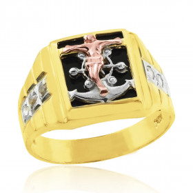 Black Onyx Tri-Tone Crucifix and Anchor Cross Ring in 9ct Gold