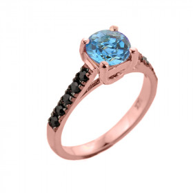 1.0ct Blue Topaz and Black Diamond Engagement Ring in 9ct Rose Gold