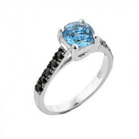 1.0ct Blue Topaz and Black Diamond Engagement Ring in 9ct White Gold