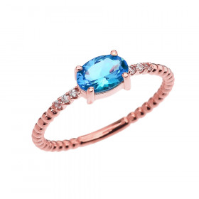 0.6ct Blue Topaz and Diamond Beaded Band Engagement Ring in 9ct Rose Gold