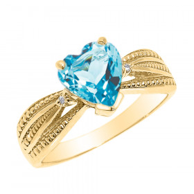 1.0ct Blue Topaz and Diamond Beauty Engagement Ring in 9ct Gold