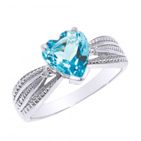 1.0ct Blue Topaz and Diamond Beauty Engagement Ring in 9ct White Gold