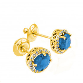 Blue Topaz and Diamond Earrings in 9ct Gold