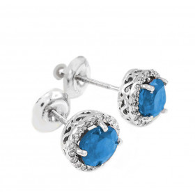 Blue Topaz and Diamond Earrings in 9ct White Gold
