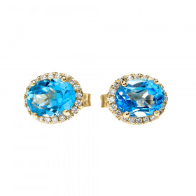 2.0ct Blue Topaz and Diamond Elegant Oval Halo Stud Earrings in 9ct Gold