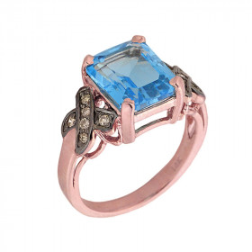 8.0ct Blue Topaz and Diamond Engagement Ring in 9ct Rose Gold