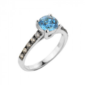 1.0ct Blue Topaz and Diamond Engagement Ring in 9ct White Gold