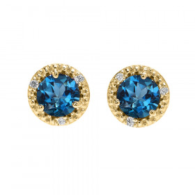 2.0ct Blue Topaz and Diamond Halo Stud Earrings in 9ct Gold