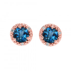 2.0ct Blue Topaz and Diamond Halo Stud Earrings in 9ct Rose Gold