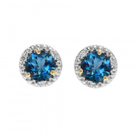 2.0ct Blue Topaz and Diamond Halo Stud Earrings in 9ct Two-Tone Gold