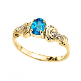 0.25ct Blue Topaz and Diamond Oval Engagement Ring in 9ct Gold