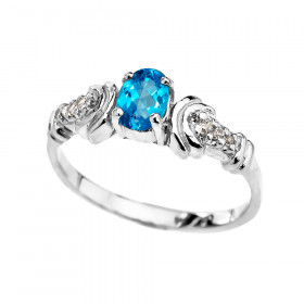 0.25ct Blue Topaz and Diamond Oval Engagement Ring in 9ct White Gold