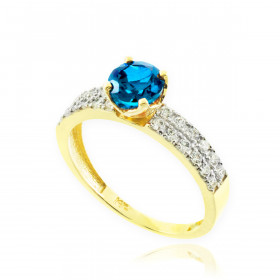 0.24ct Blue Topaz and Diamond Pave Engagement Ring in 9ct Gold