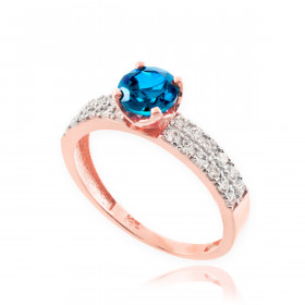 0.5ct Blue Topaz and Diamond Pave Engagement Ring in 9ct Rose Gold