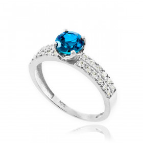 0.24ct Blue Topaz and Diamond Pave Engagement Ring in 9ct White Gold