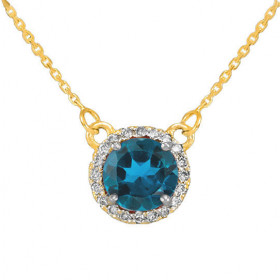 1.0ct Blue Topaz and Diamond Pendant Necklace in 9ct Gold