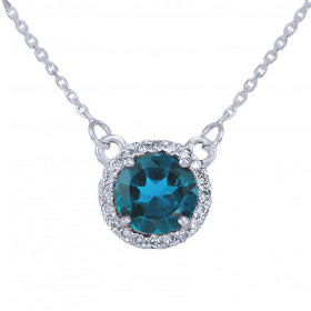 1.0ct Blue Topaz and Diamond Pendant Necklace in 9ct White Gold