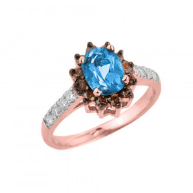 1.55ct Blue Topaz and Diamond Ring in 9ct Rose Gold